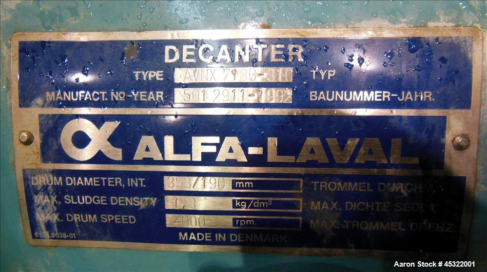 Used- Stainless Steel Alfa Laval Solid Bowl Decanter Centrifuge, AVNX-718B-31G