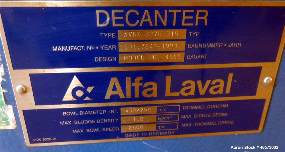 Used- Alfa Laval AVNX-837B-31G Solid Bowl Decanter Centrifuge