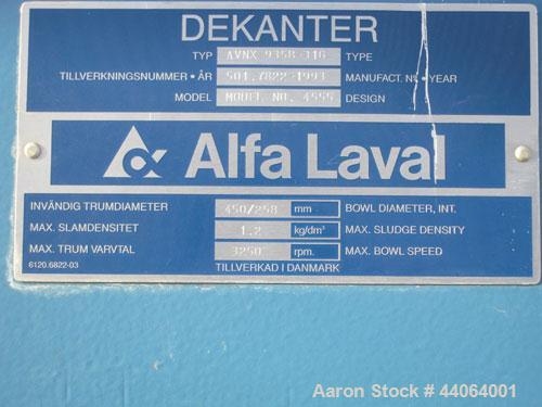 Used-Alfa Laval AVNX0935B-31G Solid Bowl Decanter Centrifuge, stainless steel construction on product contact parts.  Bowl s...