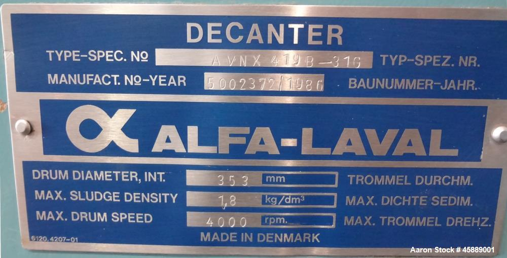 Used- Alfa Laval AVNX 419B-31G Solid Bowl Decanter Centrifuge. 316 Stainless steel construction (product contact areas). Sin...