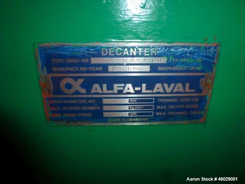 Used-Alfa Laval AVNX 420B-31G-8820.2001.11 decanter. 316 Stainless steel construction (product contact areas). Maximum bowl ...