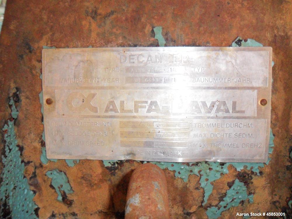 Used- Alfa Laval AVNX-716B-31G Solid Bowl Decanter Centrifuge.