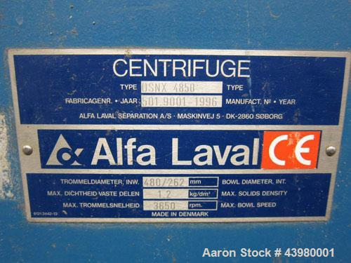 Used-Alfa Laval DSNX4850 Decanter Centrifuge. AISI316 (1.4401) Stainless steel construction on product contact parts. Max bo...