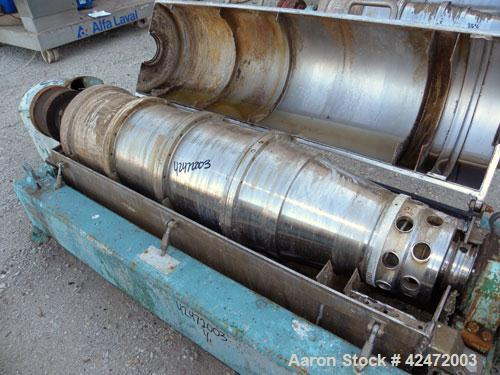 Used- Alfa Laval FPNX-418B-31 Solid Bowl Decanter Centrifuge, 316 stainless steel construction (product contact areas), maxi...