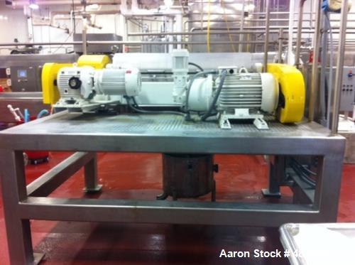 """Used- Alfa Laval MRNX-418S-31 """"Sanitary"""" Solid Bowl Decanter Centrifuge. 316 stainless steel construction, max bowl speed 40..."""