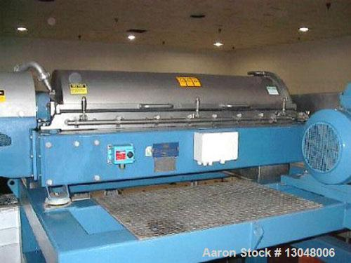 Used-Alfa Laval NX-418 solid bowl decanter centrifuge. 316 stainless steel construction on product contact areas, max bowl s...