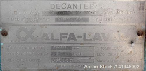 Used- Alfa Laval NX-418B-31G Solid Bowl Decanter Centrifuge, 316 Stainless Steel (product contact areas). Maximum bowl speed...
