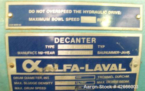 Used- Carbon Steel Alfa Laval Solid Bowl Decanter Centrifuge, NX-730B