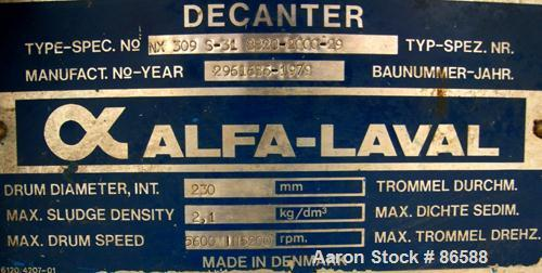 USED- Alfa Laval NX-309S-31G Solid Bowl Decanter Centrifuge. Max bowl speed 5600 RPM, stainless steel construction on produc...
