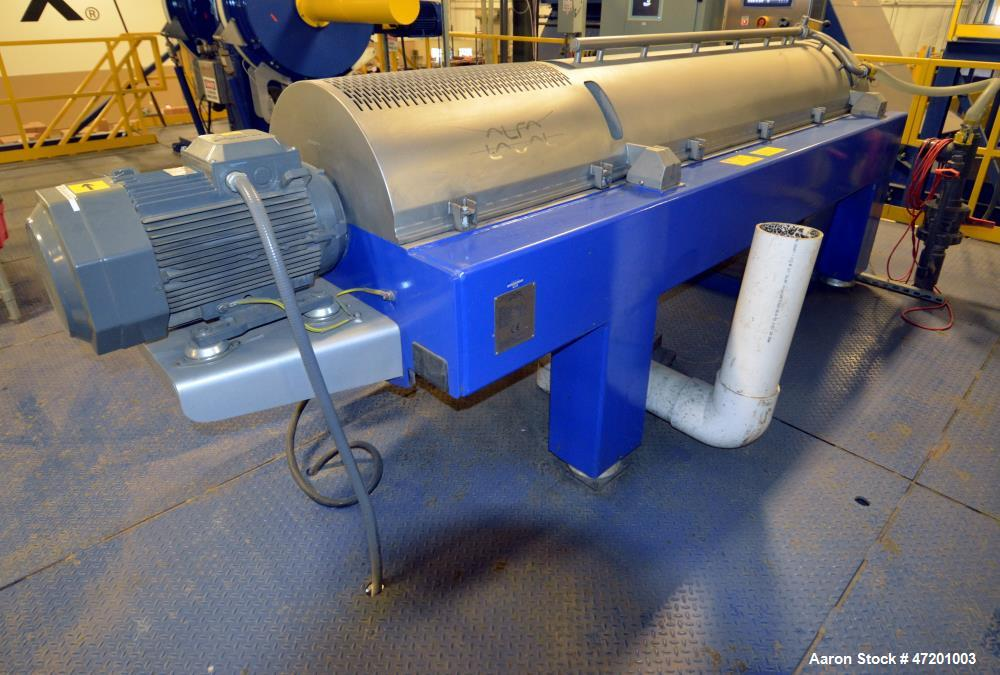 Used- Alfa Laval NX3651B-31G Decanter Centrifuge. 316 Stainless steel product contact areas. Maximum bowl speed 4200 rpm, ap...