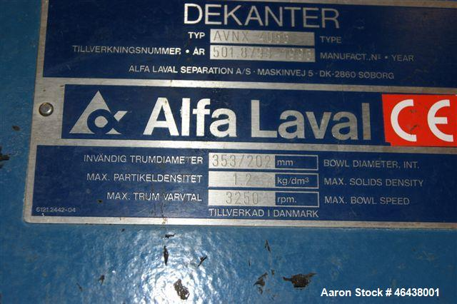 Used-Alfa Laval NX-4055 Solid Bowl Decanter Centrifuge, 316 Stainless Steel Construction (product contact areas). Maximum bo...