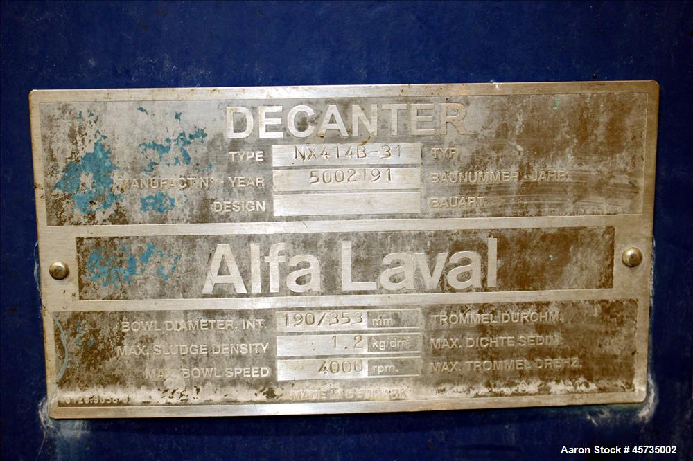 Used- Alfa Laval NX-414B-31 Solid Bowl Decanter Centrifuge, 316 stainless steel (product contact areas). Max bowl speed 4000...