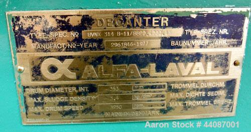 Used- Alfa Laval UVNX-314B-11G Solid Bowl Decanter Centrifuge. 316 Stainless steel (product contact areas). approximate 70mm...