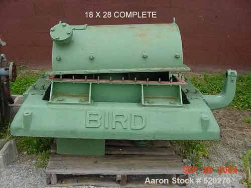 """USED: Bird 18"""" x 28"""" solid bowl decanter centrifuge, carbon steel construction. Max bowl speed 1800 rpm, cylinder bowl desig..."""