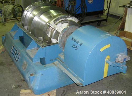 """Used- Bird 24"""" x 38"""" Solid Bowl Decanter Centrifuge. 316 stainless steel construction (product contact areas). Max bowl spee..."""