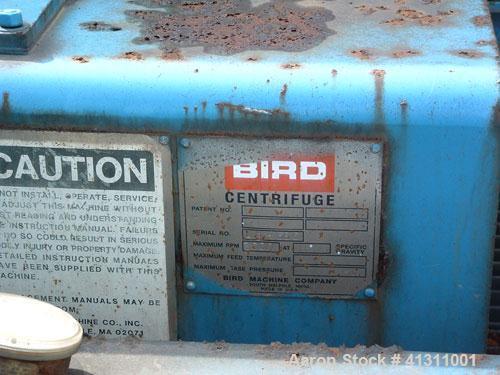 Used-Bird Solid Bowl Centrifuge, model 2500. 75 hp motor, frame, etc.
