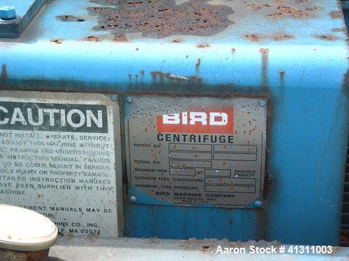 Used- Bird Solid Bowl Centrifuge, Model 2500. 75 hp motor, frame.