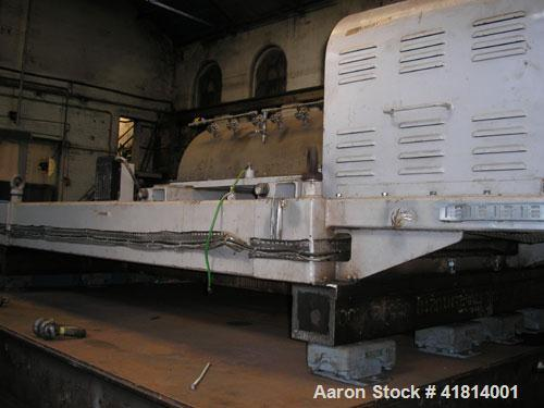 "Used-Broadbent Solid Bowl Decanter Single Lead Conveyor. 316L stainless steel. Max bowl speed 1600 rpm. 29.25"" diameter x 87..."