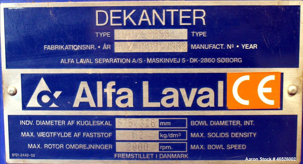 Used- Alfa Laval DSNX-5855 Solid Bowl Decanter Centrifuge