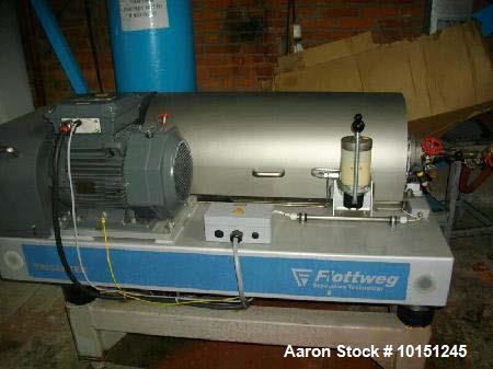 Used- Flottweg Z23-4/441 Tricanter Solid Bowl Decanter Centrifuge. Stainless steel construction 1.4463, max bowl speed 5500 ...