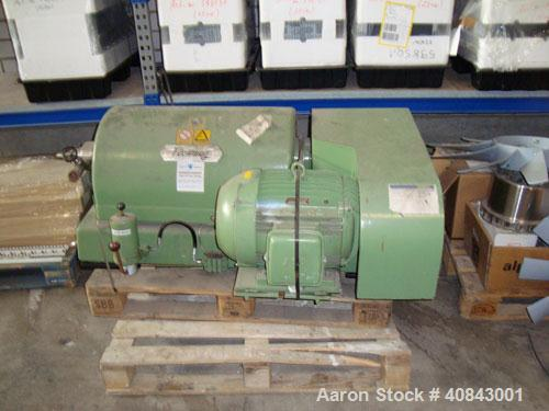 "Used-Flottweg Z-1L Solid Bowl Decnater Centrifuge. Material of construction is carbon steel on product contact parts. 9.6"" (..."