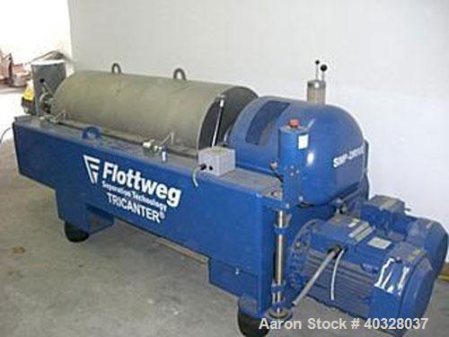 Used- Flottweg Z-4-3/411 Solid Bowl Decanter Centrifuge, 3 phase/3 way, 15 cubic meters capacity per hour, material of const...