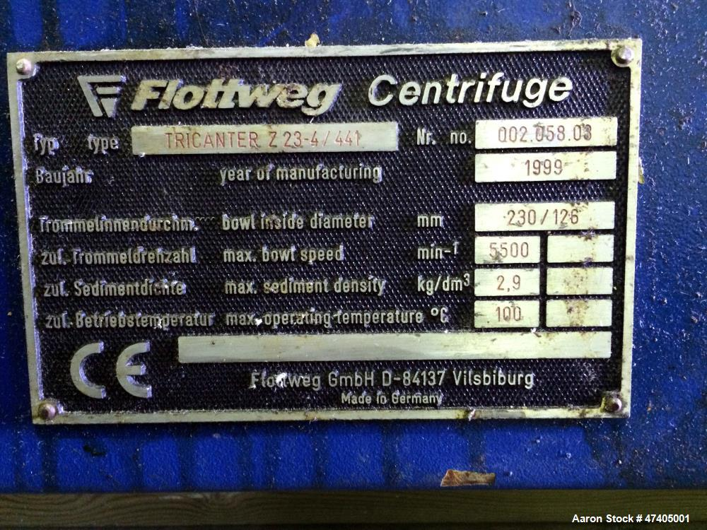 Used- Flottweg Model Z23-4/441 Horizontal Stainless Steel Tricanter Centrifuge. Bowl made of stainless steel it has an insid...