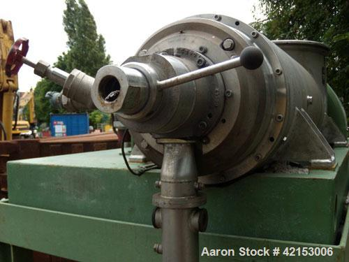 Used-Flottweg Z32-3/401G Solid Bowl Decanter Centrifuge, stainless steel (product contact areas). Pressure-tight design, max...