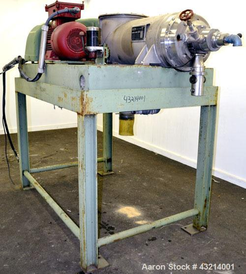 Used- Flottweg Z32-3/401G Solid Bowl Decanter Centrifuge, 316 stainless steel (product contact areas). Pressure-tight design...