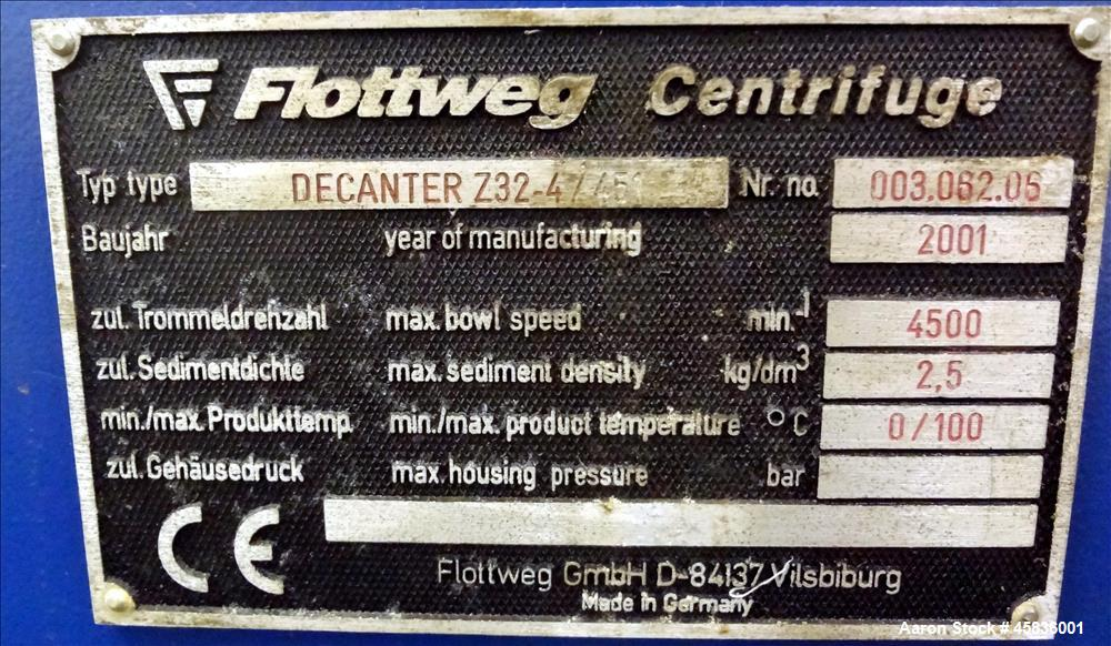 UNUSED: Flottweg Z32/4-451 Solid Bowl Decanter Centrifuge