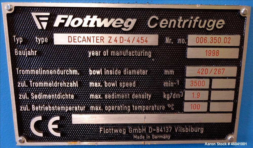 Used Flottweg Z4D/4-454 Solid Bowl Decanter Centrifuge