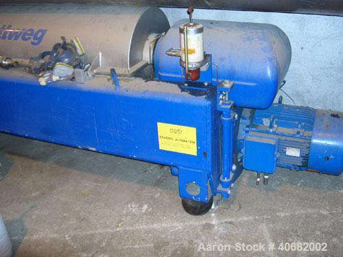 Used-Flottweg Z-4D Solid Bow Decanter Centrifuge. 3 phase/3 way, 15m3 capacity per hour. Material of construction is stainle...