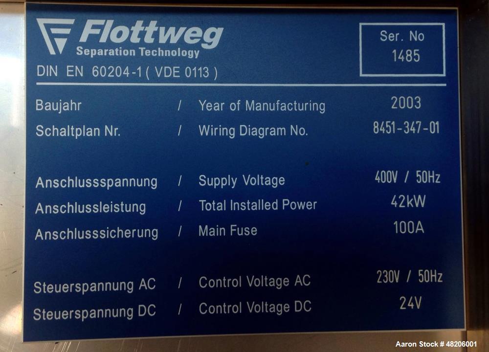 Used- Flottweg Z4E-4/444 Tricanter Solid Bowl Decanter Centrifuge