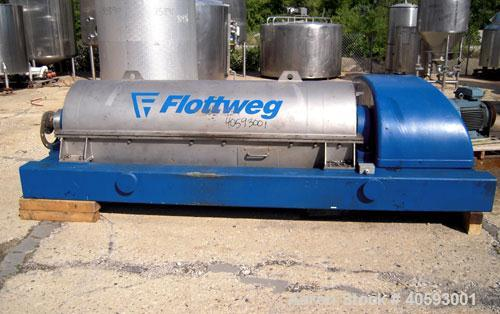 "Used- Flottweg  Z53-4/451 Solid Bowl Horizontal Decanter Centrifuge, 2205 stainless steel (product contact areas), 10"" singl..."