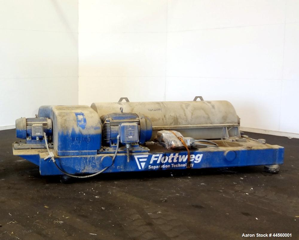 Used- Flottweg Z53-4/454 Solid Bowl Horizontal Decanter Centrifuge. 2250 Stainless steel construction (product contact areas...