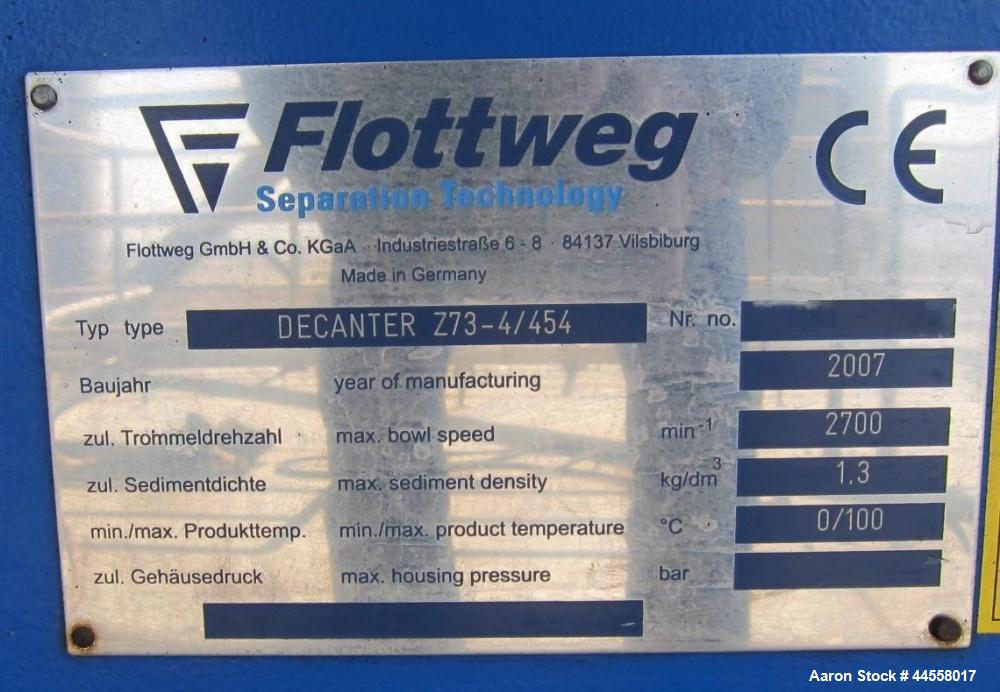 Used- Flottweg Z73-4/454 DDGS Simp 4.12. Solid Bowl Horizontal Decanter Centrifuge. 316 Stainless steel construction (produc...