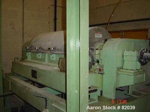 """USED: IHI HS-325FS Solid Bowl Decanter Centrifuge, stainless steel construction on product contact areas. 12.7"""" diameter x 4..."""