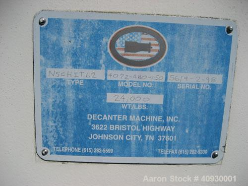 """Used-Decanter Machine 40"""" x 72"""" Solid Bowl Decanter Centrifuge. Type NSCHIT62, model 4072-480-250, carbon steel construction..."""
