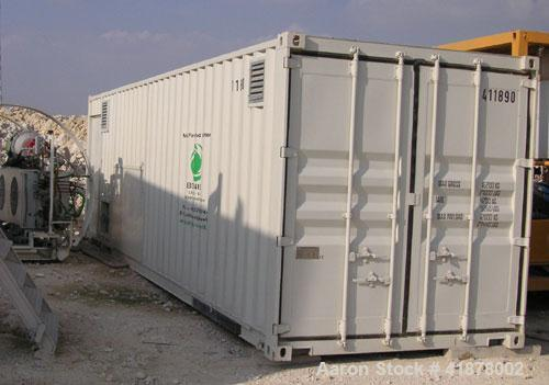 Used-Sludge Dewatering Unit built in 2008 inside a CSC certified 30' container, with flow controlled cavity pumps, discharge...