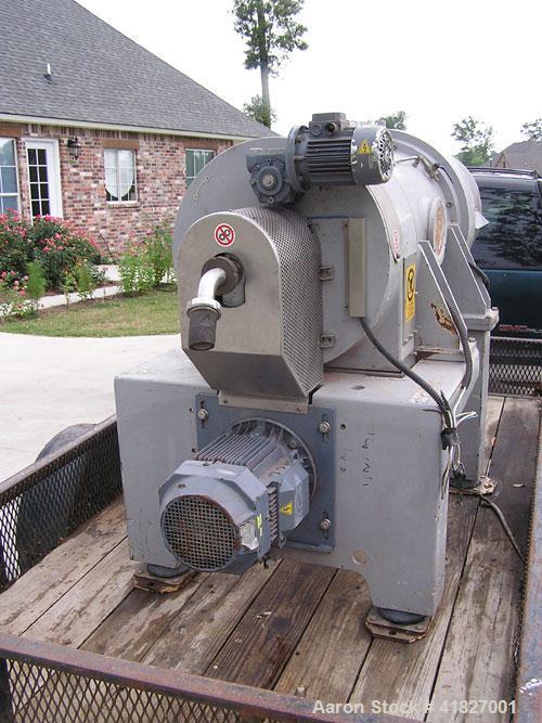 Used-Pieralsi Decanter Centrifuge, Model FP600/M. 4100 bowl rpm, 11-18 kW, 608m3/hour capacity, 353 mm diameter, 2250 mm lon...