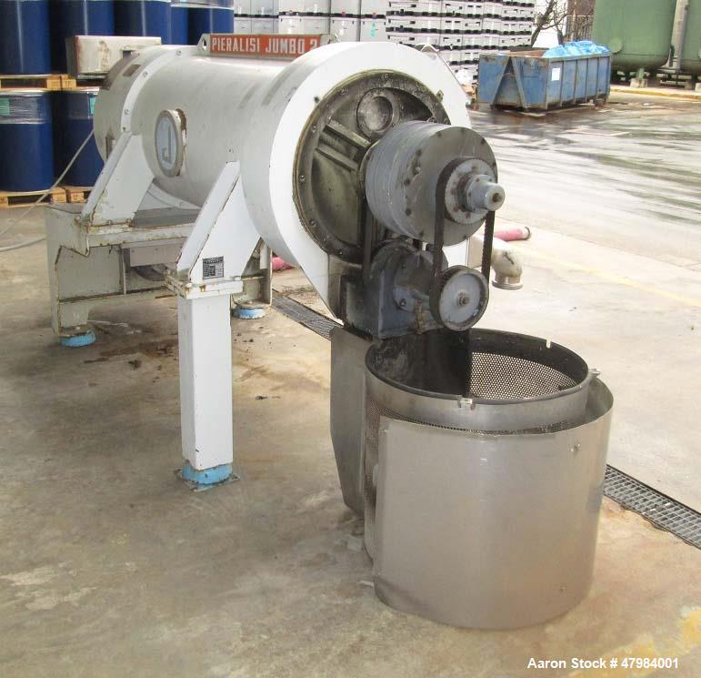Used- Pieralisi Jumbo 2 Solid Bowl Decanter Centrifuge. Stainless steel on product contact areas. Maximum bowl speed 3250 rp...