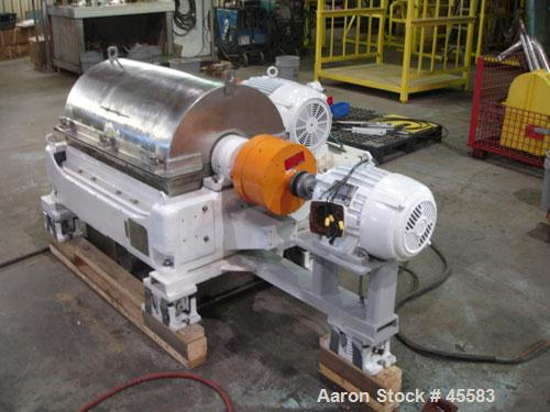 RECONDITIONED: Sharples sanitary P-3000 Super-D-Canter centrifuge, 316 stainless steel. Max bowl speed 4000 rpm. Contour bow...