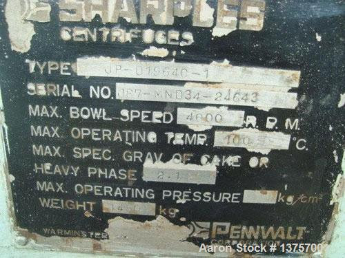 "Used- Sharples P-3400 Super-D-Canter centrifuge, stainless steel construction, 4.25"" single lead conveyor with STC tiles, ho..."