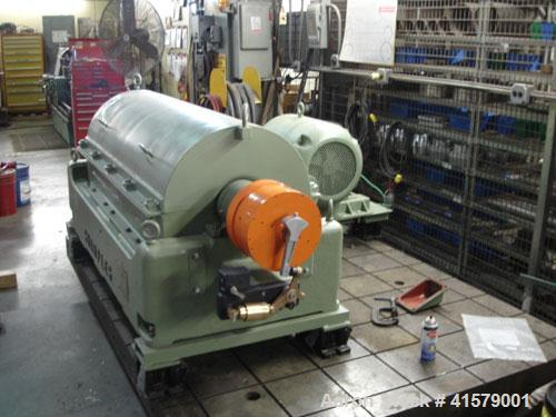 Used- Sharples P-3400 Super-D-Canter Centrifuge, 316 stainless steel construction (product contact areas). Maximum bowl spee...