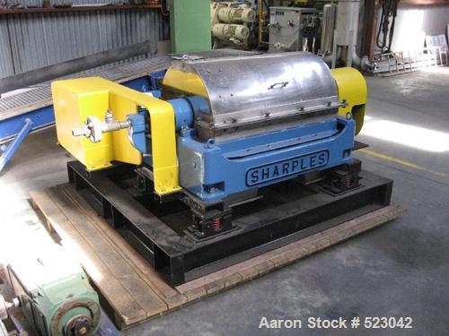 USED: Sharples decanter centrifuge, model P3000, J73-P3000CF 401,type JPSU666-4, 4000 rpm, 22 kw motor, 2.2 kw backdrive, ha...
