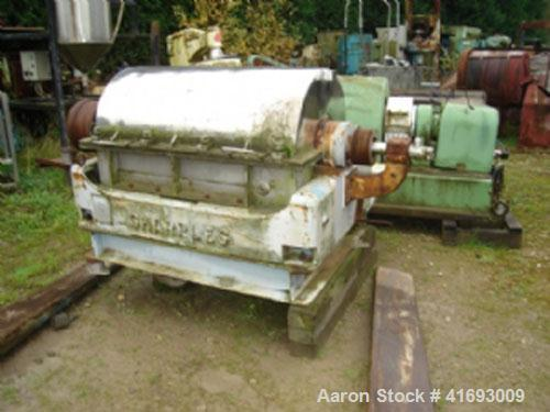 Used-Sharples Horizontal Decanter Centerifuge, model P3000S, stainless steel. Motor 25 hp/18.5 kW drive with a max speed of ...