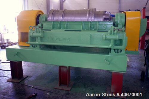 Used-Sharples P-4600 Super-D-Canter Centrifuge, 316 stainless steel construction. Single lead conveyor with hardfacing, hogg...
