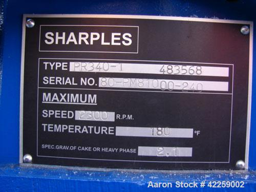 Used-Sharples PC-81000 Super-D-Canter Centrifuge, 304 stainless steel construction on product contact areas. Max bowl speed ...