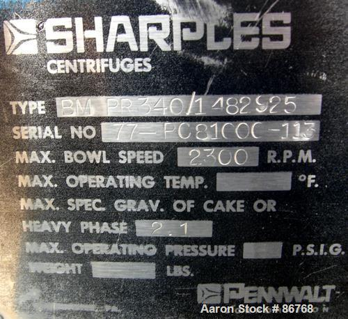 USED: Sharples PC-81000 Super-D-Canter Centrifuge, 304 stainless steel construction on product contact areas. Max bowl speed...