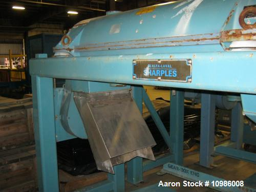 Used- Sharples PM-38000 Super-D-Canter Centrifuge. Stainless steel rotating assembly, max bowl speed 4000 rpm. Single row li...